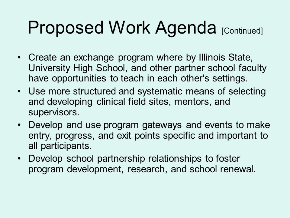Proposed Work Agenda [Continued]